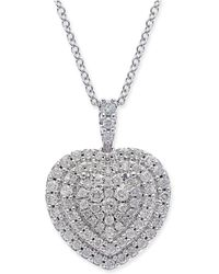Macy's - Diamond Heart Cluster Pendant Necklace (1/2 Ct. T.w.) In 14k White Gold - Lyst