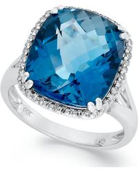 Macy's - 14k White Gold Ring, Cushion-cut London Blue Topaz (9-3/8 Ct. T.w.) And Diamond (1/5 Ct. T.w.) Ring - Lyst