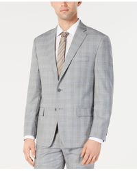 Michael Kors - Classic-fit Light Gray/light Blue Plaid Suit Jacket - Lyst