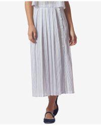Avec Les Filles - Striped Pleated Side-button Midi Skirt - Lyst