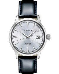 Seiko - Automatic Presage Black Leather Strap Watch 40.5mm - Lyst