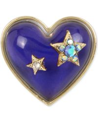 Betsey Johnson - Gold-tone Pavé Stars & Blue Stone Heart Mood Ring - Lyst