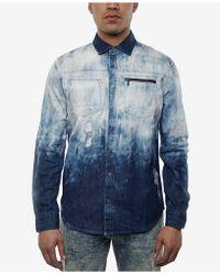 Sean John - Men's Dip-dyed Destroyed Denim Shirt - Lyst