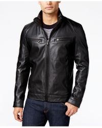 Michael Kors - Michael Big & Tall Perforated Faux-leather Jacket - Lyst