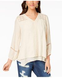 Style & Co. - Petite Layered-hem Crochet Woven Top, Created For Macy's - Lyst