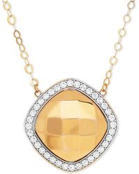 Macy's - Polished And Beaded Halo Pendant Necklace In 10k Gold And Rhodium-plate - Lyst