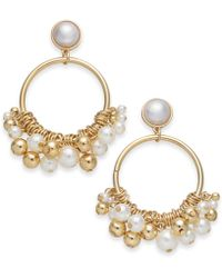 INC International Concepts - I.n.c. Gold-tone Imitation Pearl Shaky Drop Hoop Earrings, Created For Macy's - Lyst