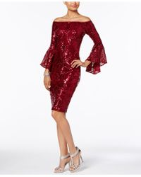 Betsy & Adam - Sequined Off-the-shoulder Dress - Lyst