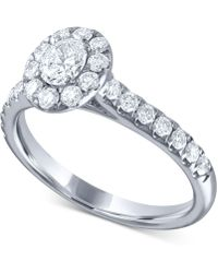Macy's - Diamond Oval Halo Engagement Ring (1 Ct. T.w.) In 14k White Gold - Lyst