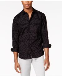 INC International Concepts - Scribble Flocked Pattern Shirt, Created For Macy's - Lyst