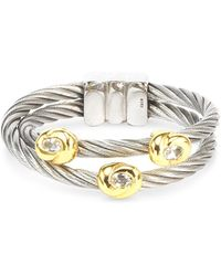 Charriol - White Topaz Accent Double Cable Ring In Stainless Steel And 18k Gold-plated Sterling Silver - Lyst