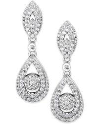 Wrapped in Love - Diamond Dangling Drop Earrings In 14k White Gold (1 Ct. T.w.) - Lyst