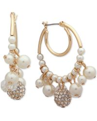 Anne Klein - Gold-tone Pavé Bead & Imitation Pearl Shaky Hoop Earrings - Lyst