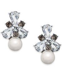 Charter Club - Silver-tone Crystal & Imitation Pearl Drop Earrings - Lyst
