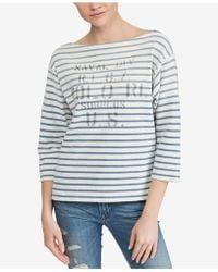 Polo Ralph Lauren - Striped Boatneck Cotton Shirt - Lyst