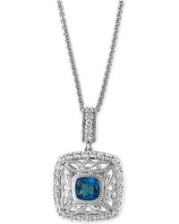 Effy Collection - Effy London Blue Topaz (1-1/4 Ct. T.w.) And White Sapphire (1/2 Ct. T.w.) Pendant Necklace In Sterling Silver - Lyst