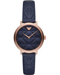 Emporio Armani - Blue Leather Strap Watch 32mm - Lyst