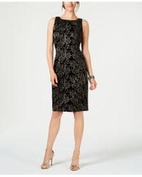 Adrianna Papell - Metallic-embroidered Velvet Dress - Lyst