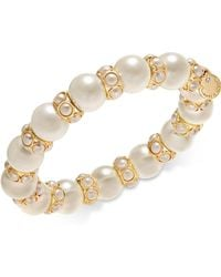 Charter Club - Gold-tone Imitation Pearl Stretch Bracelet, Created For Macy's - Lyst