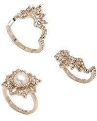 Marchesa - Gold-tone 3-pc. Set Crystal & Imitation Pearl Stacker Rings - Lyst