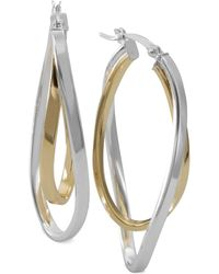 Macy's - Two-tone Twisted Hoop Earrings In Sterling Silver And 14k Gold-plate - Lyst