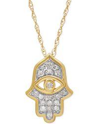 Macy's Diamond Hamsa Pendant Necklace (1/10 Ct. T.w.) In 10k Gold