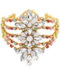 Steve Madden - Gold-tone Crystal & Bead Floral Multi-row Bangle Bracelet - Lyst
