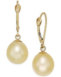 Macy's - Cultured Oval Golden South Sea Pearl (9mm) Drop Earrings In 14k Gold - Lyst