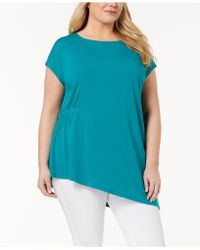 Eileen Fisher - Plus Size Stretch Jersey Asymmetrical Tunic - Lyst