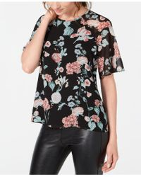 Vince Camuto - Floral-print Chiffon Top - Lyst