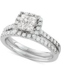 Macy's - Diamond Square Halo Bridal Set (1-1/4 Ct. T.w.) In 14k White Gold - Lyst