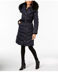 Elie Tahari - Raccoon-fur-collar Asymmetrical Down Coat - Lyst