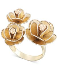Macy's - Tri-colour Flower Ring In 14k Gold, White Gold & Rose Gold - Lyst