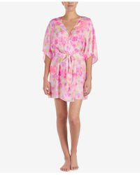 Betsey Johnson - Floral-print Lace-detail Short Robe - Lyst