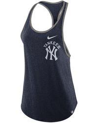 277cb984fdb527 Lyst - Nike Women s New York Yankees Fade Tank Top in Blue