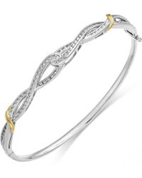 Macy's - Diamond Twist Bangle Bracelet In 14k Gold And Sterling Silver (1/4 Ct. T.w.) - Lyst