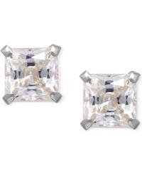 Macy's - Cubic Zirconia Square Stud Earrings In 14k Gold - Lyst