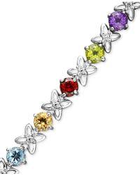 Macy's - Sterling Silver Bracelet, Multistone And Diamond Accent Flower Bracelet - Lyst