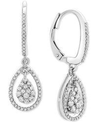 Macy's - Diamond Teardrop Orbital Drop Earrings (1/2 Ct. T.w.) In Sterling Silver - Lyst