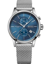 BOSS - Men's Chronograph Jet Stainless Steel Mesh Bracelet Watch 41mm 1513441 - Lyst