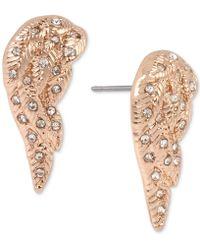 Betsey Johnson - Rose Gold-tone Pavé Angel Wing Stud Earrings - Lyst