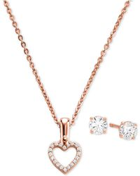 "Michael Kors - Sterling Silver Cubic Zirconia Open Heart Pendant Necklace & Stud Earrings Set, 16"" + 2"" Extender - Lyst"