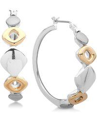 Nine West - Tri-tone Sculptural Hoop Earrings - Lyst