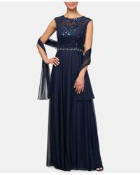 c4b6686f0452 Monique Lhuillier Velvet Strapless Gown & Shawl in Green - Lyst
