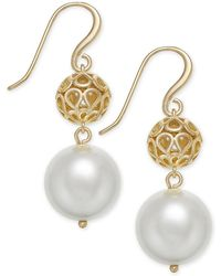 Charter Club - Gold-tone Filigree & Imitation Pearl Drop Earrings, Created For Macy's - Lyst