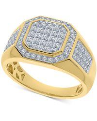 Macy's - Men's Diamond Cluster Ring (1 Ct. T.w.) In 10k Gold - Lyst