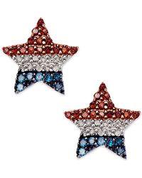 Macy's - Diamond Flag Star Stud Earrings In Sterling Silver (1/4 Ct. T.w.) - Lyst