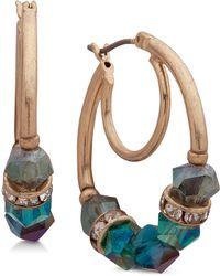 Lonna & Lilly - Gold-tone Pavé Beaded Hoop Earrings - Lyst