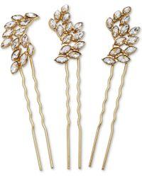 Badgley Mischka - Gold-tone 3-pc. Set Crystal Hair Pins - Lyst