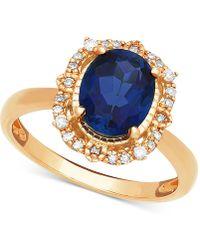 Macy's - Sapphire (1 Ct. T.w.) & Diamond (1/10 Ct. T.w.) Halo Ring In 14k Gold - Lyst